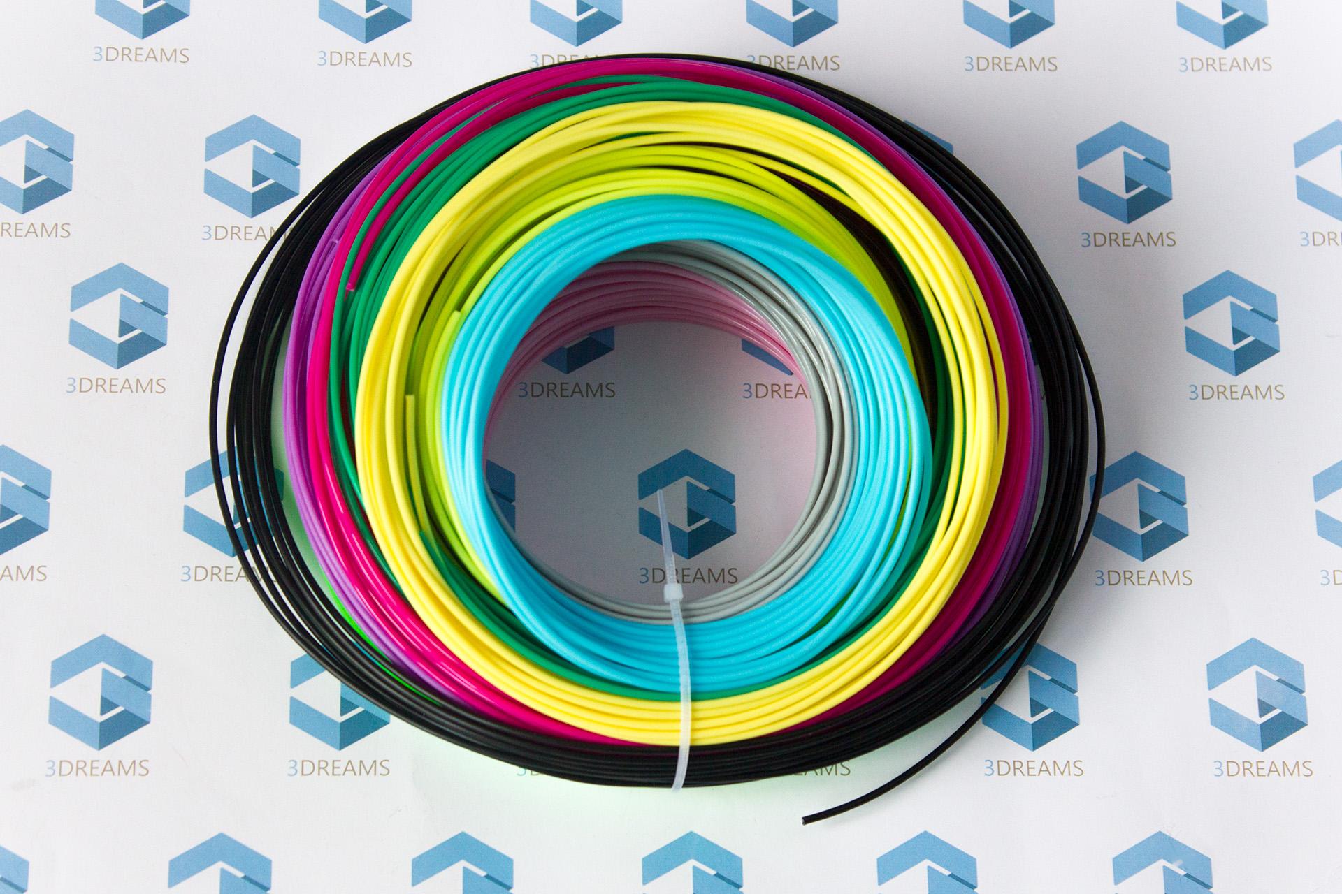 Пластик для 3D ручки PLA (набор 20 цветов) диаметр 1.75 мм